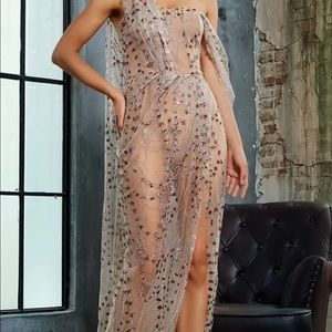 Gold  Cross Cut Out Straps gown